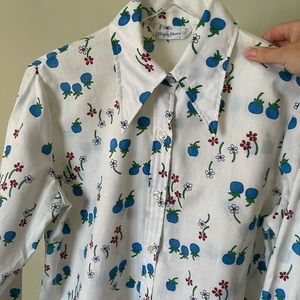 Vintage Pointy Collar Blueberry Daisy White Cotton Shirt L